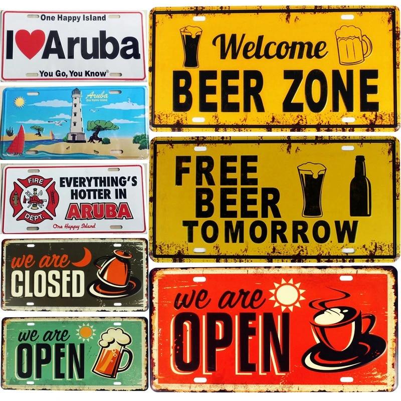 Enamelled plate xxl retro sign art beer zone