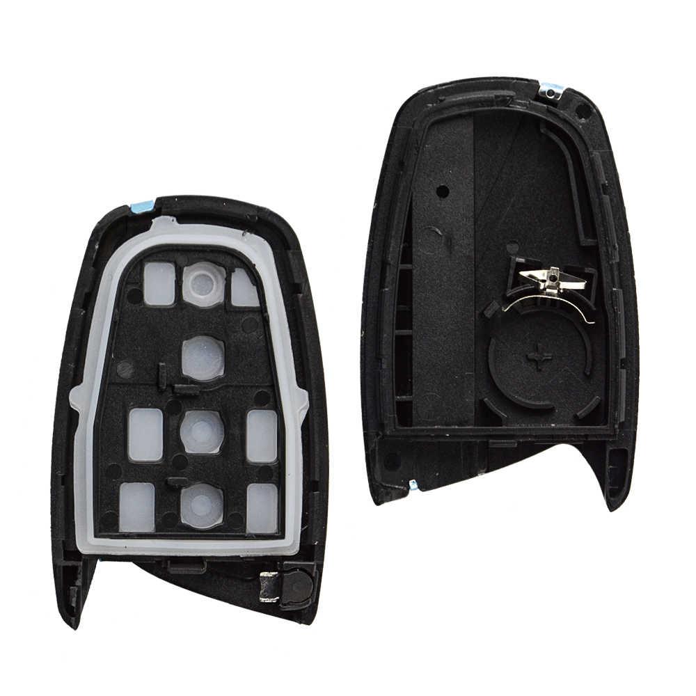 OkeyTech 3/4 Knop Auto Afstandsbediening Auto Sleutel Shell Cover Fob Voor Hyundai Genesis 2013-2015 Santa Fe Equus Azera onderdelen Emergency Blade