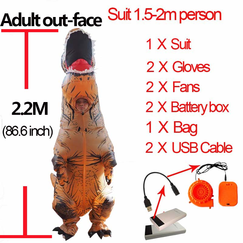 Anime Cospaly Adult Men T REX Costume Inflatable Dinosaur t-rex Mascot Costume Adultos Halloween Dinosaur Costume for Kids Women (3)