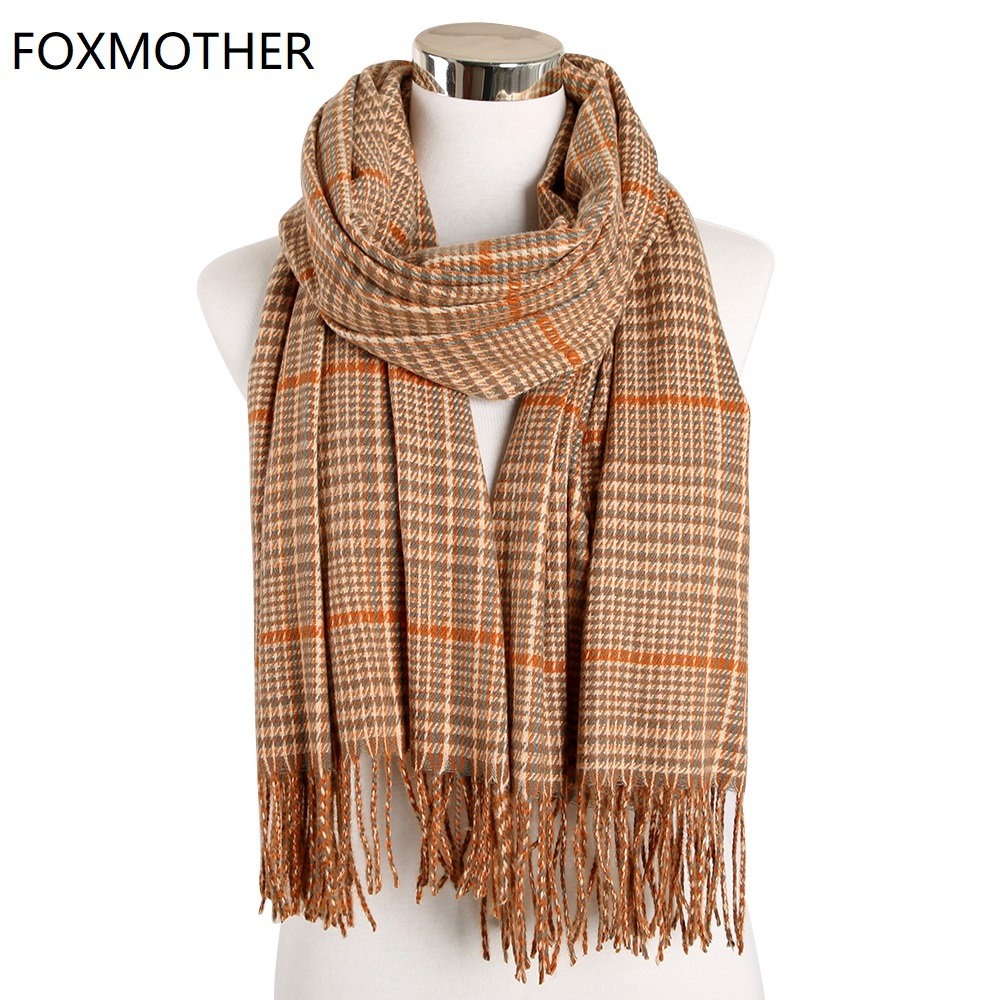 FOXMOTHER New Shawl Cashmere Wrap Ladies Winter Women Scarf Plaid Warm Triangle Scarves Houndstooth Foulard Femme 2019 Stoles