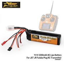 цены ZOP Power 11.1V 2200mAh 8C 3S 3S1P Lipo Battery JST JR Futaba Plug Rechargeable For RC Drone Helicopter Quadcopter Transmitter