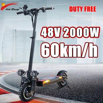 Patinete eléctrico para adulto, Scooter plegable de alta potencia, 48V, 2000W, 60 km/h, motores duales sin escobillas, 11 pulgadas