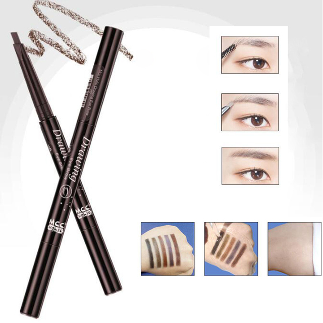 New 5-Color Double-Headed Eyebrow Pencil Natural Waterproof Rotating Automatic Triangle Eyebrow Pencil With Brush Beauty Tools 5