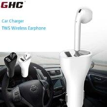 2019 GHC 2 in 1 Car Wireless Charger TWS Earphones Single Ear Earphone Headphones Bluetooth Dropshipping