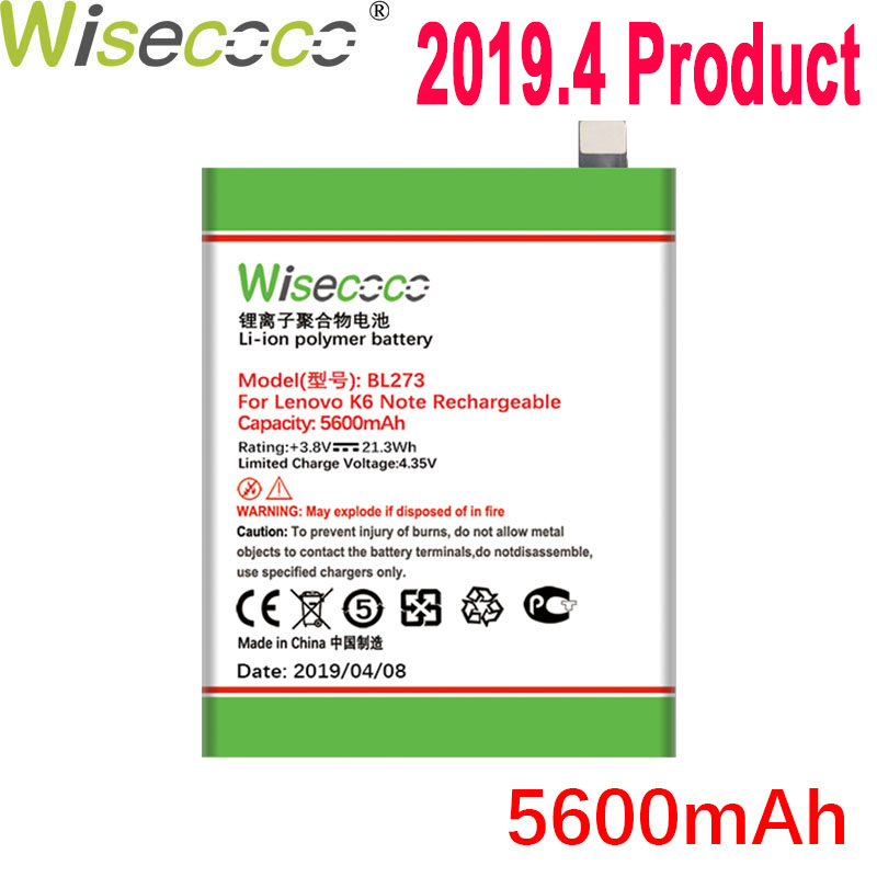 WISECOCO 5600mAh BL273 <font><b>Battery</b></font> For <font><b>Lenovo</b></font> <font><b>K6</b></font> <font><b>Note</b></font> Mobile Phone In Stock Latest Production High Quality <font><b>Battery</b></font>+Tracking Number image