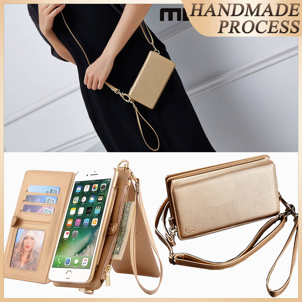 Musubo Fashion Girl Ledertasche für iPhone 7 Plus Luxus-Handytasche Passend für iPhone 8 Plus 6 6s Plus Damen Wallet Coque