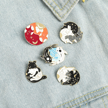 Day and Night Enamel Pins Custom Sun Moon Fox Koi Rabbit Brooch Bag Clothes Lapel Pin Badge Cute Animal Jewelry Gift For Friends image