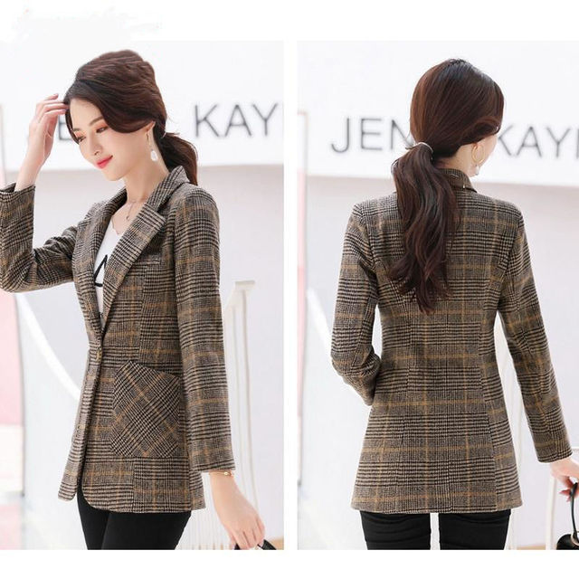 PEONFLY Vintage Office Lady Notched Collar Plaid Women Blazer Single Button Autumn Jacket 2021 Casual Pockets Female Suits Coat 4