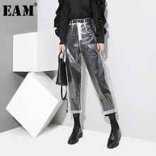 Auutmn-pantalones a la moda de estilo coreano para mujer, pantalón de Color transparente, largo hasta el tobillo, YA84900, 2021