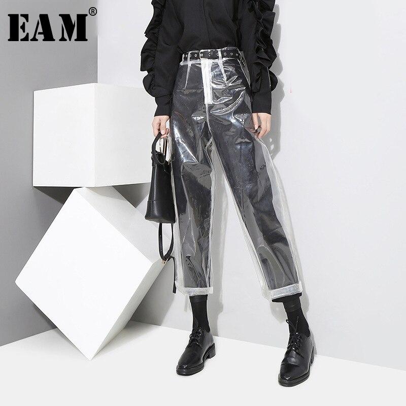 [EAM] 2021 auutmn Fashion New Pattern Korean Style Transparent Transparent Color Pants Woman Ankle-length Pants YA84900
