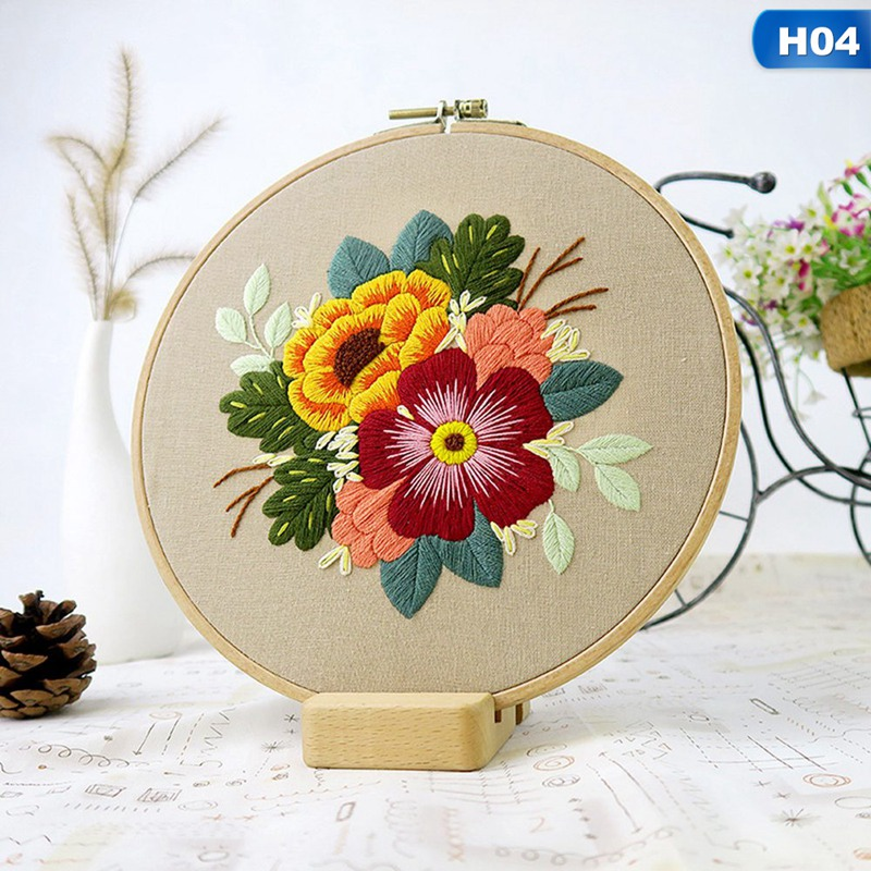Sewing Arts Crafts DIY Embroidery Cross Stitch Kits Hoop Handmade Cartoon Flower Patterns Needlework Set with Embroidery-2