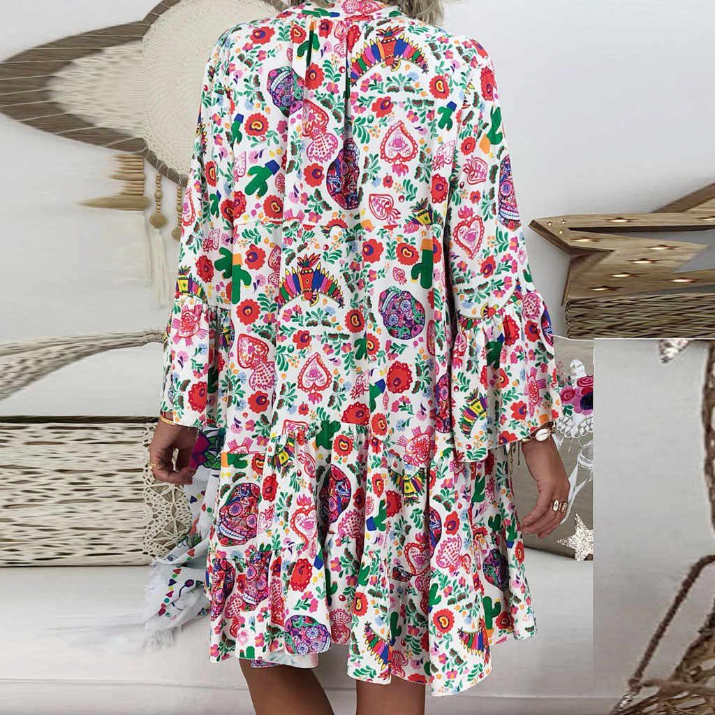 女性の女性ルース印刷 3 分袖ミニドレス夏ドレスプラスサイズのドレス 4xl 5xl 6xl ドレス
