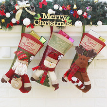 Christmas Socks Stockings Pendant Cloth Ornaments Old man snowman elk Decoration for Party Home Supplies Gift Bag