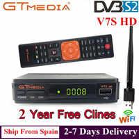 Gran oferta Receptor de TV satelital Gtmedia V7S Receptor HD soporte Europa Cline para España DVB-S2 decodificador satelital Freesat V7 HD