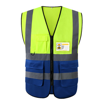 Two Tone Yellow Blue Reflective Vest With Zipper and Pockets Hi Vis Safety Work Gilet For Men And Women - discount item  51% OFF Workplace Safety Supplies