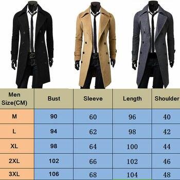 Men Jacket Warm Winter Trench Coat Long Outwear Button Overcoat Male Casual Windbreaker Overcoat Jackets coats Wool Blends
