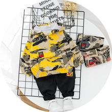 Spring Autumn Children Printed Baby Boys Girls Clothes Camouflage Hooded Pants 2Pcs/sets Infant Kids Fashion Toddler Tracksuits kids tracksuits 2018 new autumn boys clothes sets letter printed hoodies