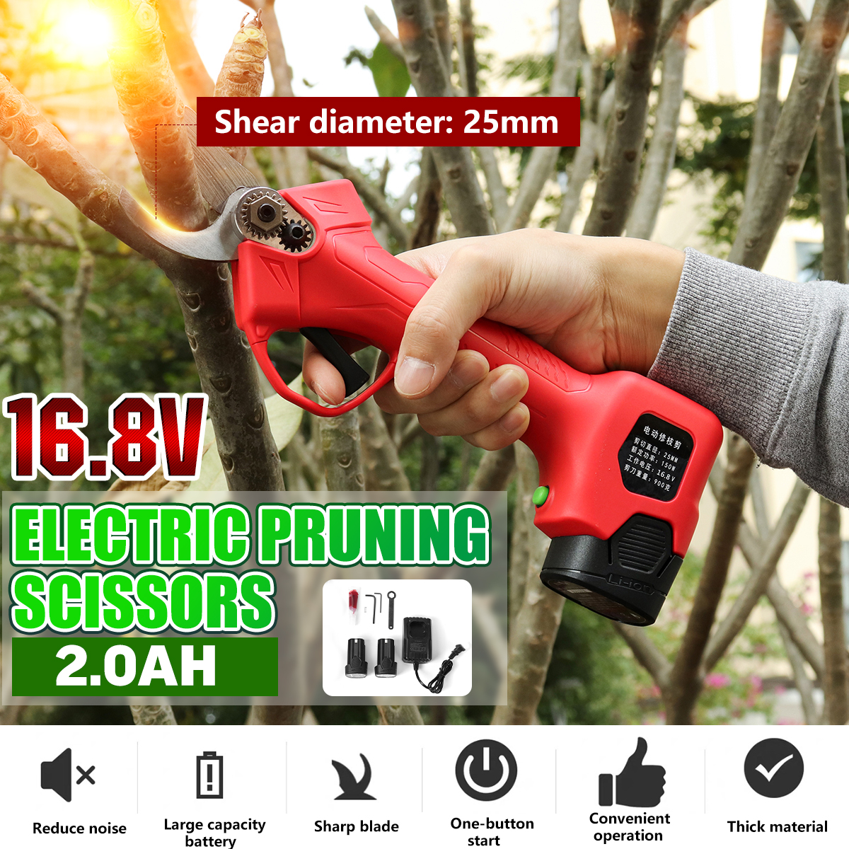 Doersupp W/2x Battery 16.8V 45mm Wireless Electric Rechargeable Scissors Pruning Scissors Branch Cutter Shears Tree Garden Tool