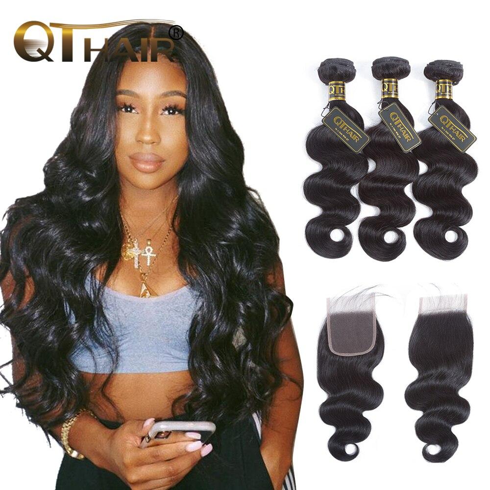 Body Wave Bundles With Closure Brazilian Hair Weave Bundles With Closure 100% Human Hair Bundles With Closure QT Hair Extensions
