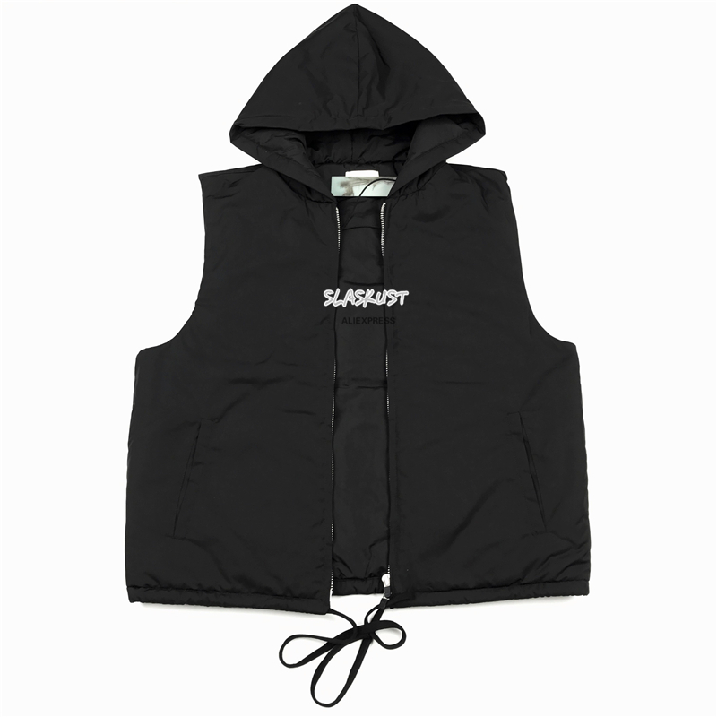 Lightly Padded Sleeveless Nylon Jacket Kanye West Drawstring Waist Full Zipper Coats Streetwear