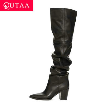 QUTAA 2021 Over The Knee Women Boots Winter Pleated Shoes Cow Leather PU Long Pointed Toe Square Heels Big Size34-43 - discount item  48% OFF Women's Shoes