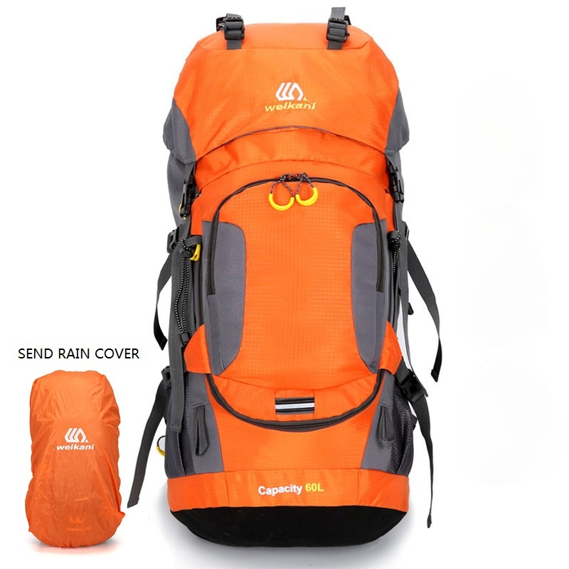 BOWTAC Mountaineering Hiking Bag 60L Men's Outdoor Camping Backpack Night Reflection Design Waterproof Hiking Backpack Unisex
