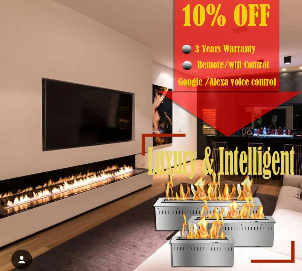Hot Sale 72 Inch Bio Ethanol Chimney Liquid Alcohol Fireplace Voice Controled Burner Insert