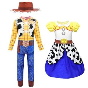 Odzież dla dzieci Cartoon dziewczyna chłopcy Cosplay kombinezon i zestaw szortów kowboj szeryf Woody kostium dziewczyna Jessie sukienka 3D drukuj garnitur