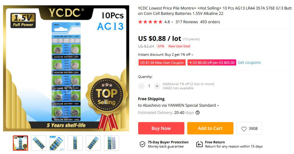Ycdc Lowest Price Pile Montre Hot Selling 10 Pcs Ag13 Lr44 357a S76e G13 Button Coin Cell Battery Batteries 1 55v Alkaline 22 Battery 1 55v Coin Cell Batterypile Montre Aliexpress