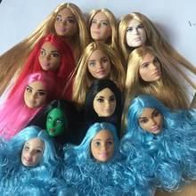 レア顔カラフルな髪の人形ヘッド品質人形ヘッドホワイトレディブラックガールキャンディーカラー髪の人形ヘッドdiyおもちゃの部品