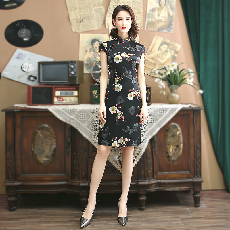 Sheng Coco Black Silk Satin Cheongsam Dress 3D Plum Print Short Dress Ladies Qipao Oriental Style Dresses Classic Vestido