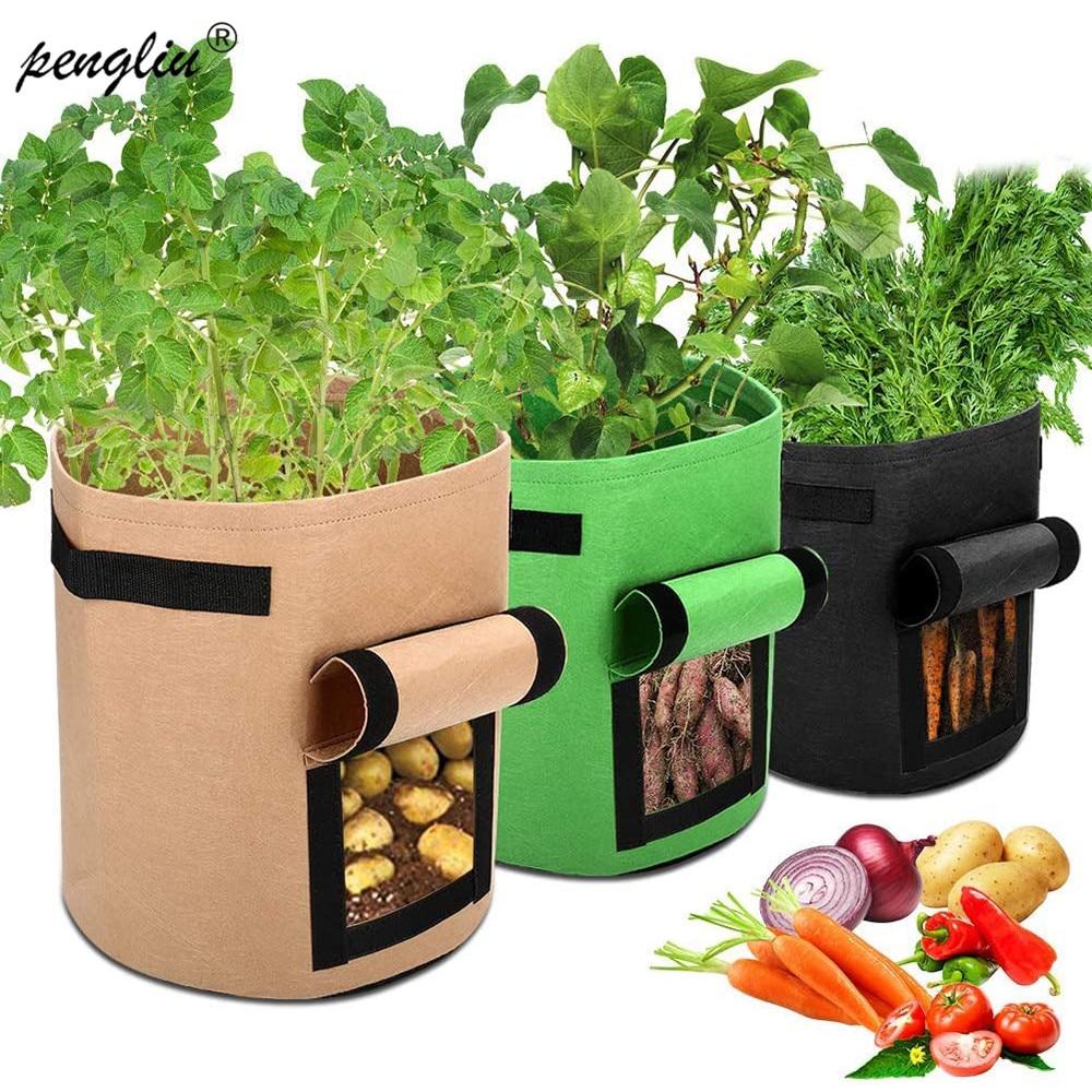 4 7 10 Gallon Garden Plant Grow Bags gardening biodegradable Nonwoven Cloth Pot Gardening Bag Vegetable,Potato Planting Grow Bag