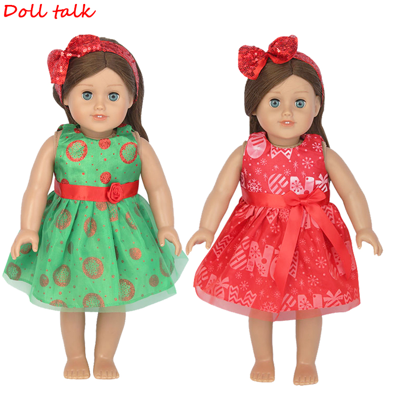 18 Inch American Doll Dress With Bow Headband New Fashion Printed Long Christmas Skirt For Baby Dolls Clothes FIt 43cm Girl Doll