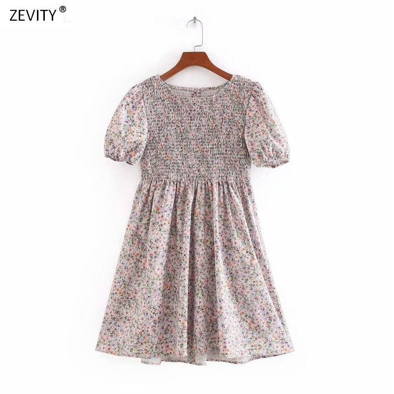2020 women sweet o neck puff sleeve floral vestidos print elastic mini dress chic female back buttons casual slim dresses DS3962