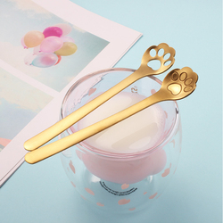 1pc Stainless Steel Cat Claw Spoon For Coffee Tea Dessert Kids Tableware Hollow Craft 3 Colors Spoon New Year Kitchen Supplies