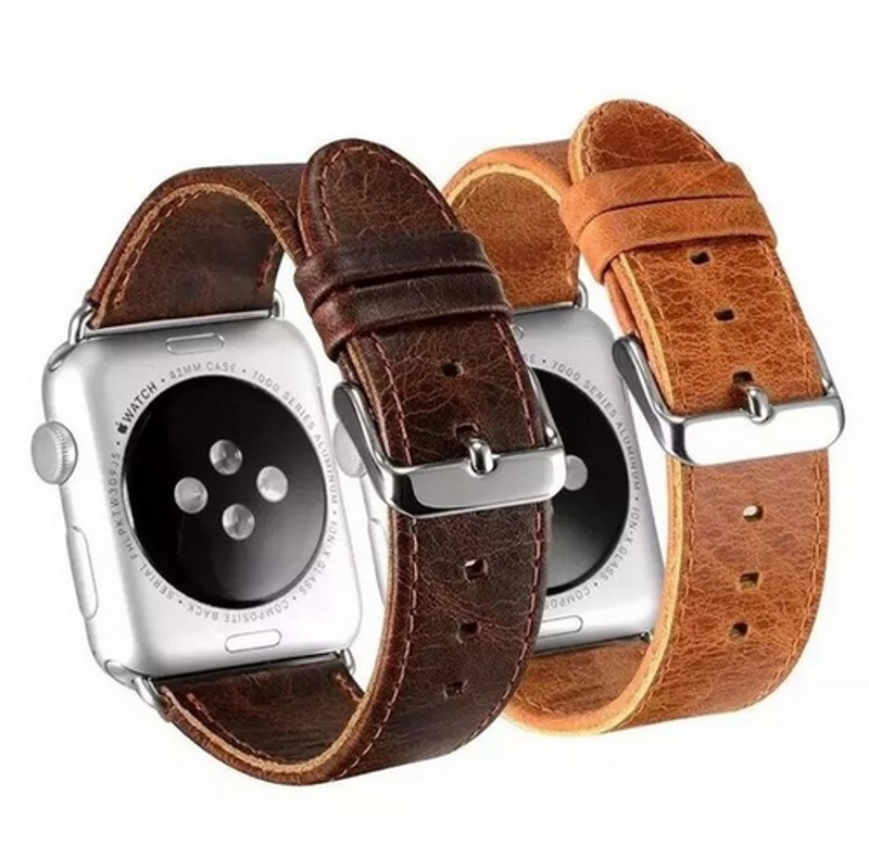 Suitable For Apple Watch Applewatch1 S 2 S Watch Strap Crazy Horse Pattern Leather Watch Strap 38/42 Size