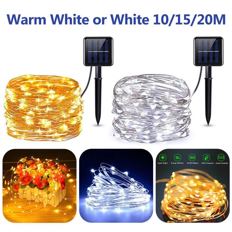 10/15/20m LED Copper Wire String Light Fairy Light Waterproof Solar LED String Lights Solar Lamp Wedding Christmas Decoration
