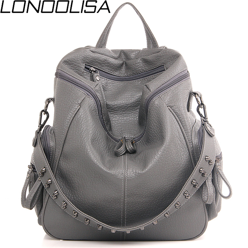 3-in-1 Designe Backpack Shoulder Bag Women Preppy Bookbag Mochilas Rivet Backpack Large Capacity School Bags For Teenage Girls
