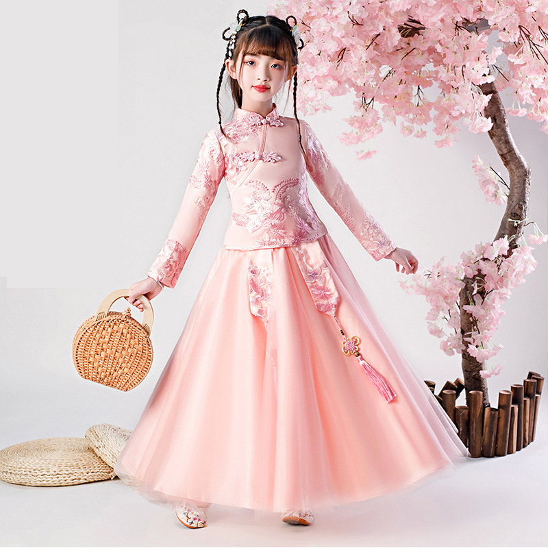 Embroidery Flower Girl Dress Baby Princess Pink Dresses Kids Wedding Teens Party Girls Floral Chinese Traditional Chinese Dress