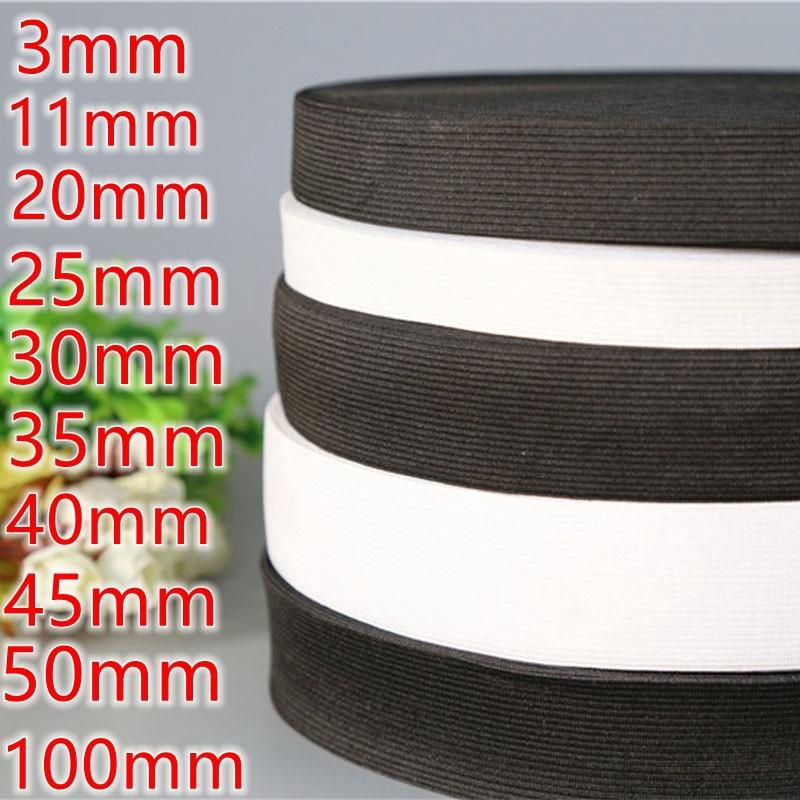 Multi-größe schwarz und weiß Elastische Bands Elastische Band Kleidung Taschen Hosen Elastische Gummi DIY Nähen Zubehör gummiband