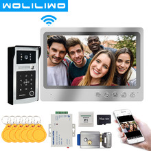 9 Cal Wifi domofon wideo domofon telefoniczny z RFID linii papilarnych odblokować dzwonek 120 stopni szerokokątny aparat