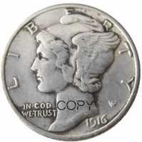US Mercury-moneda de copia chapada en plata, 1916 P/S/D