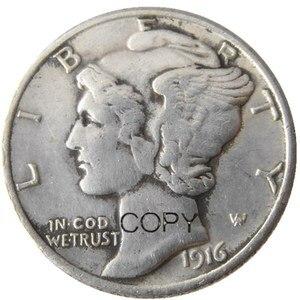 US Mercury Dime 1916 P/S/D посеребренные копировальные монеты