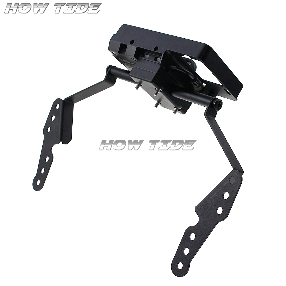 Black Navigation Bracket Mount Smartphone GPS Holder for <font><b>DL</b></font> <font><b>1000</b></font> <font><b>V</b></font>-<font><b>Strom</b></font> Vstrom <font><b>1000</b></font> 2017 2018 2019 image
