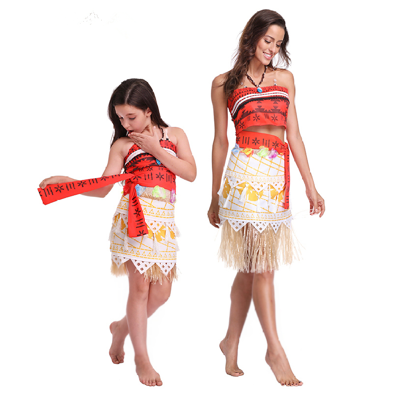 Adult Kids Princess Moana Costume Dresses With Necklace Wig Women Girls Halloween Party Vaiana Dress Mom Girl Cosplay Costumes