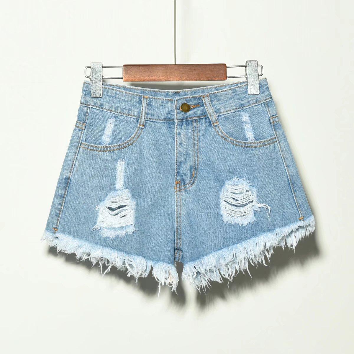 Iraq I Clothing Fat Mm180 Jin With Holes Tassels Flash Frayed Large Size Denim Shorts Hot Pants Summer Women's