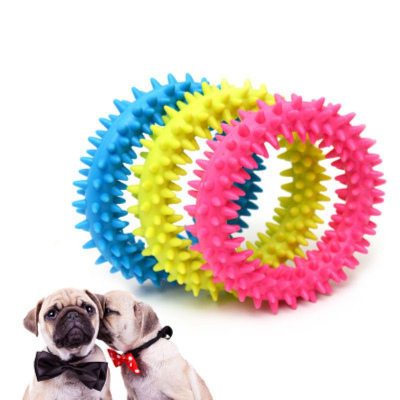 Pet Rubber Round Chew Toy For Dog Molar Training Puppy Interactive Bite-resistant Teeth Cleaning Toy Dog Toothbrush Pet Products image