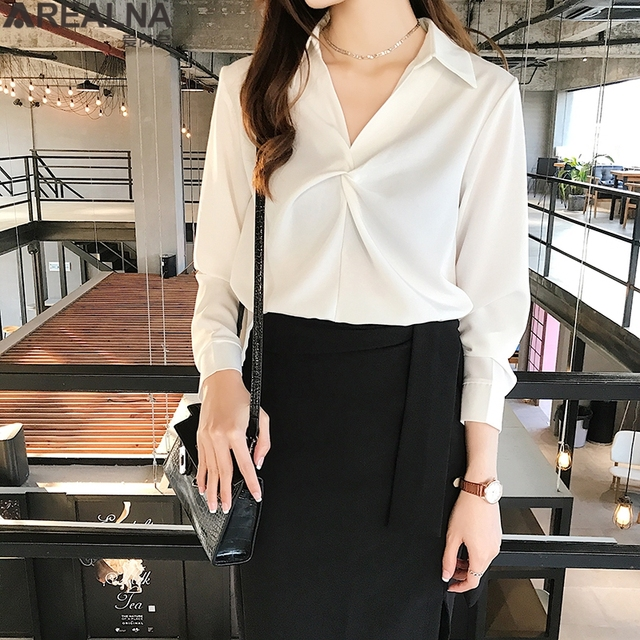 2020 autumn Women Blouse Korean office Long Sleeve Womens Tops And Blouses Vintage Folds Shirts Blusas Roupa Feminina Tops 4