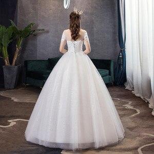 Image 4 - קלאסי שמפניה פשוט יוקרה 2021 חדש חתונת שמלה סקסי אשליה תחרה רקמה בתוספת גודל הכלה שמלת Robe דה Mariee L
