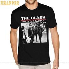 만화 인쇄 충돌 바위 Casbah T-셔츠 흰색 짧은 소매 남자의 작은 크기 검은 색 T 셔츠
